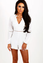 Pink Boutique Star Treatment White Embroidered Frill Hem Playsuit