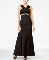Teeze Me Juniors' Embellished Illusion-Waist Gown