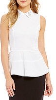 CeCe Sleeveless Embellished Collar Cotton Peplum Shell
