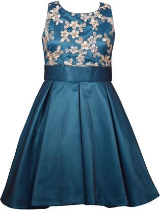 Iris & Ivy Mesh Overlay Fit & Flare Satin Dress
