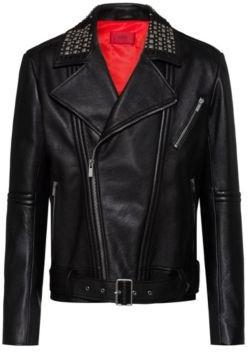 HUGO BOSS Slim Fit Leather Jacket With Studded Details - Black
