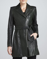Andrew Marc New York Sophie Tie-Waist Leather Jacket