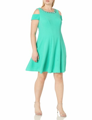 Sandra Darren Women's 1 Pc Plus Size Cold Shoulder Fit & Flare Knit Necklace Dress