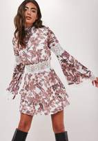 Missguided White Floral Print Chiffon Lace Flute Sleeve Mini Dress