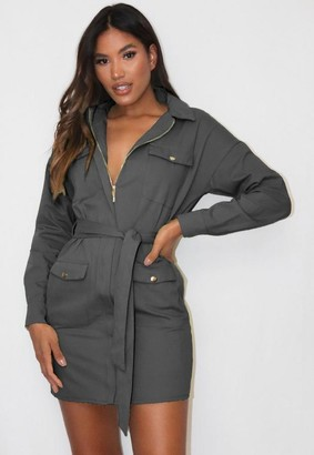Missguided Charcoal Utility Belted Shirt Dress