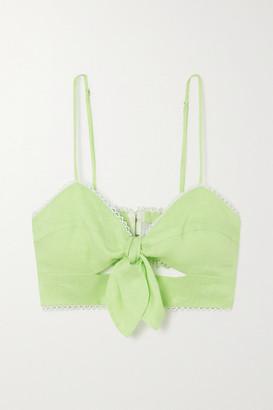 Miguelina Irene Crochet-trimmed Linen Bralette - Green