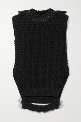Simone Rocha Bite Back Embellished Raffia And Tulle-trimmed Crochet-knit Tank - Black