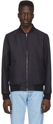 A.P.C. Navy Wool Mathieu Bomber Jacket
