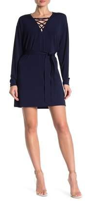 Ramy Brook Siera Lace-Up Long Sleeve Dress