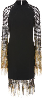 Pamella Roland Stretch Crepe Cocktail With Grid Sequin And Ombre Fringe Sleeve