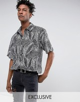 Reclaimed Vintage Inspired Shirt In Black With Leaf Print In Reg Fit