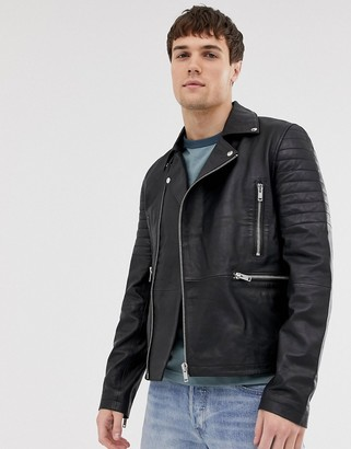 Barneys New York real leather quilted zipped biker jacket