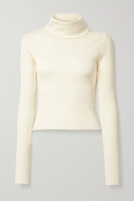 The Range Waffle-knit Cotton-blend Turtleneck Top - Cream