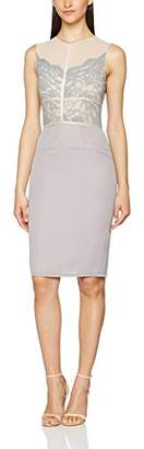 Elise Ryan Women's Scallop Lace with Contrast Panelling Pencil Sleeveless Party Dress