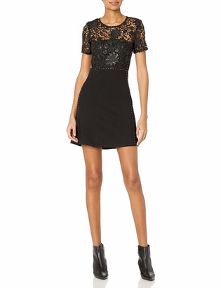 French Connection Women's Clementine Sequin Black Lace Short Sleeved Dress 4