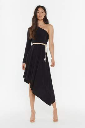 Nasty Gal Womens Side With Me One Shoulder Midi Dress - Black - 6, Black
