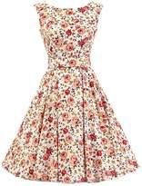Ensnovo Womens Vintage 1950s Sleeveless Retro Floral Print Rockabilly Swing Dress , XS
