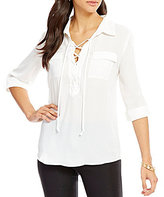 I.N. San Francisco Lace-Up Neckline Roll-Tab Blouse