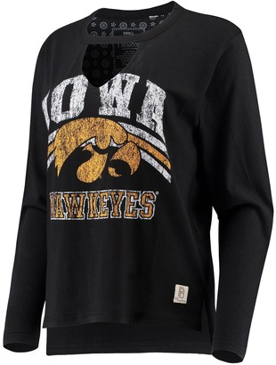 Women's Pressbox Black Iowa Hawkeyes Scout Choker Long Sleeve T-Shirt