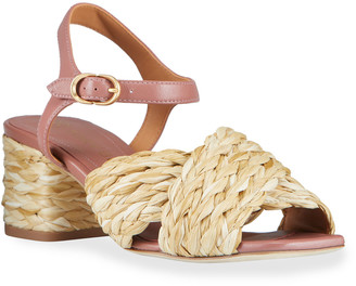 Tory Burch Kira Raffia Crisscross Ankle-Strap Sandals
