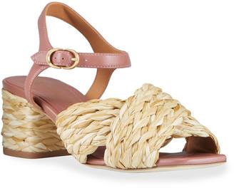 Tory Burch Kira Raffia Crisscross Ankle-Strap Sandals