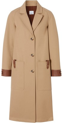 Burberry Leather-Trimmed Coat