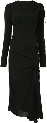 No.21 Ruched-Detail Long-Sleeve Dress