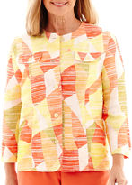 Alfred Dunner Sunny Days 3/4-Sleeve Abstract Geometric Jacket