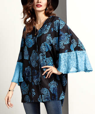Reborn Collection Women's Tunics Black - Black & Blue Paisley V-Neck Button-Front Lace Bell-Sleeve Tunic - Women
