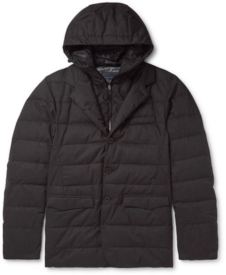 Quilted Tech-Flannel And Gore-Tex Hooded Down Jacket
