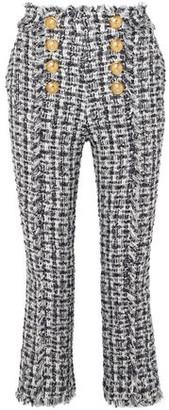 Balmain Cropped Button-embellished Tweed Bootcut Pants