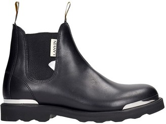 Lanvin Chelsea Flat Ankle Boots In Black Leather