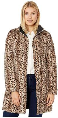 Via Spiga Reversible Button Front Faux Fur Coat (Leopard) Women's Clothing
