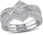 Ice Julie Leah 2/3 CT TW Diamond 14K White Gold Bridal Ring Set, IGL Certified