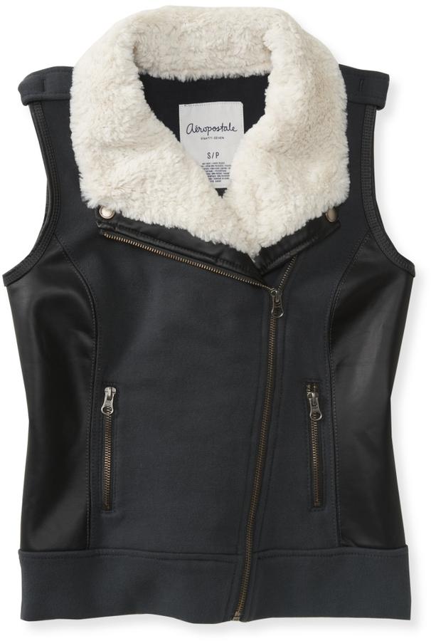 Aeropostale Faux Leather Trim Vest