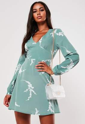 Missguided Mint Floral Plunge A Line Mini Dress