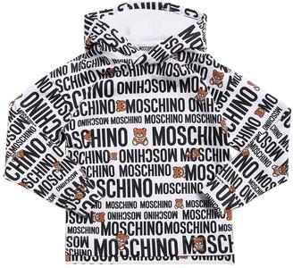 Moschino All Over Logo Cotton Sweatshirt Hoodie