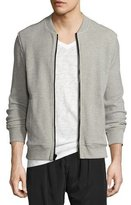 ATM Anthony Thomas Melillo Thermal Waffle-Knit Bomber Jacket, Medium Gray