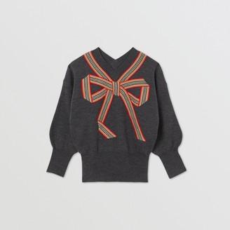 Burberry Childrens Icon Stripe Bow Merino Wool Silk Sweater