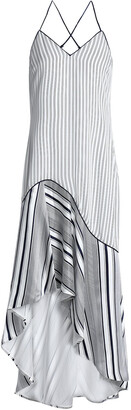 Jonathan Simkhai Asymmetric Striped Silk-satin Midi Dress