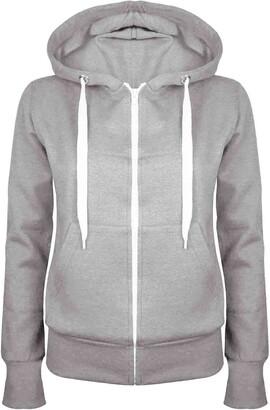 Fashion Star Plain Hoody Girls Zip Top Womens Hoodies Sweatshirt Jacket Plus Size 6-22 Grey