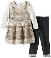 Little Lass Baby Girl Jumper, Shirt & Leggings Set