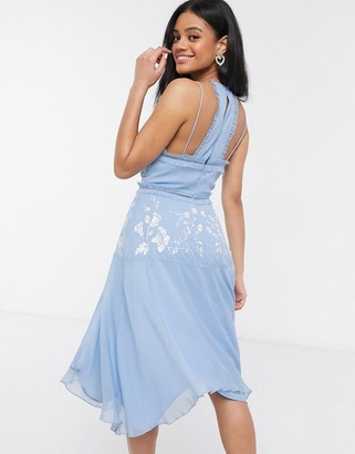 ASOS DESIGN pretty embroidered cami dress with ruffle trims in soft blue