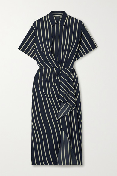 Thumbnail for your product : Jason Wu Collection Draped Striped Twill Dress - Navy