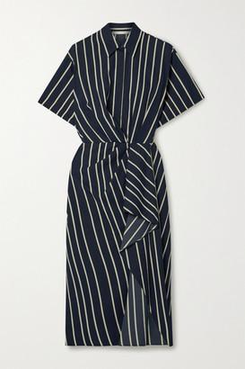 Jason Wu Collection Draped Striped Twill Dress - Navy
