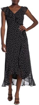 London Times Ruffle Polka Dot Maxi Dress