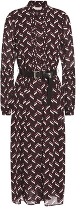 MICHAEL Michael Kors Belted Pintucked Printed Crepe De Chine Midi Dress