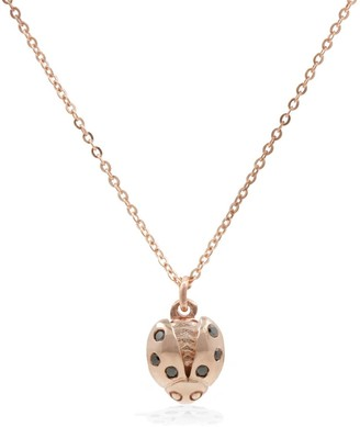Lee Renee Ladybird Black Diamond Necklace (Wings Open) Rose Gold