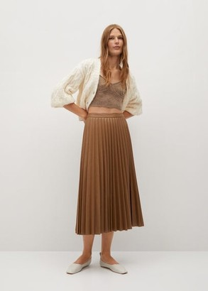 MANGO Faux-leather pleated skirt
