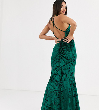 Flounce London Petite velvet high neck maxi dress with cross back in emerald-Green
